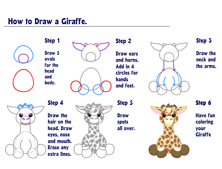 how to draw a real giraffe step by step