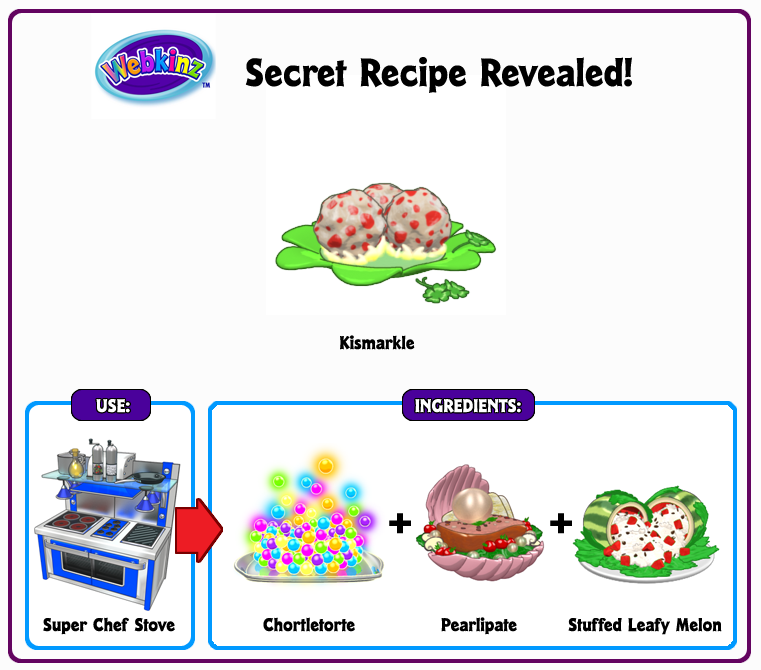 Food Recipes For Webkinz Stove