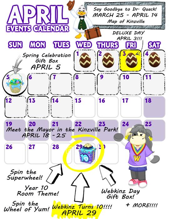 April Calendar Of Events : April event calendar wkn webkinz newz