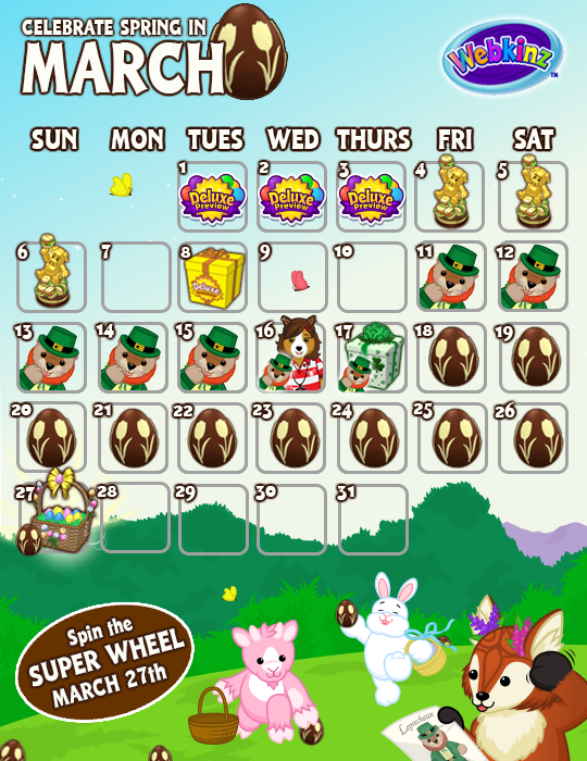 March Events Calendar. March Events Calendar   WKN  Webkinz Newz