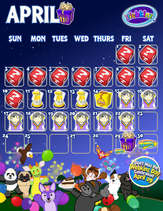 How. April Events Calendar   WKN  Webkinz Newz