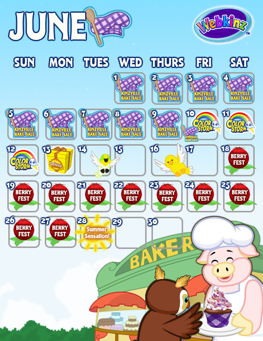 What. Webkinz Events Calendar   June 2016   WKN  Webkinz Newz