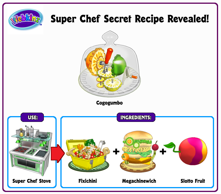 webkinz clothes machine recipes