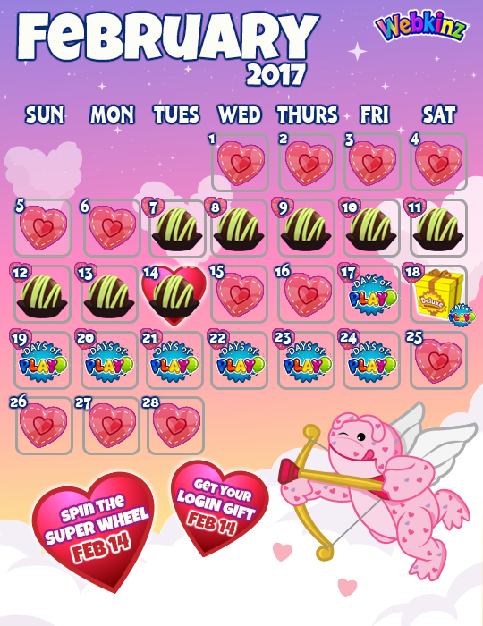 Don t. February Events Calendar   WKN  Webkinz Newz