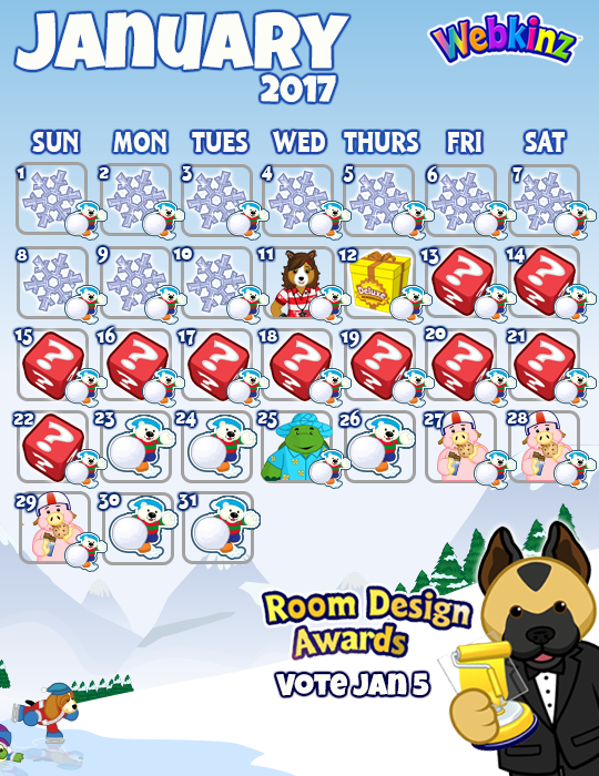 Winterfest. January Events Calendar   WKN  Webkinz Newz