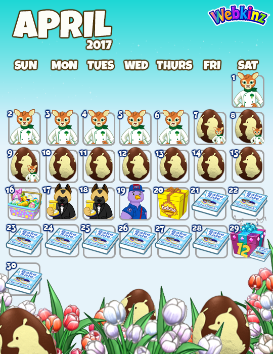 How many Webkinz. Webkinz Events Calendar  April 2017   WKN  Webkinz Newz