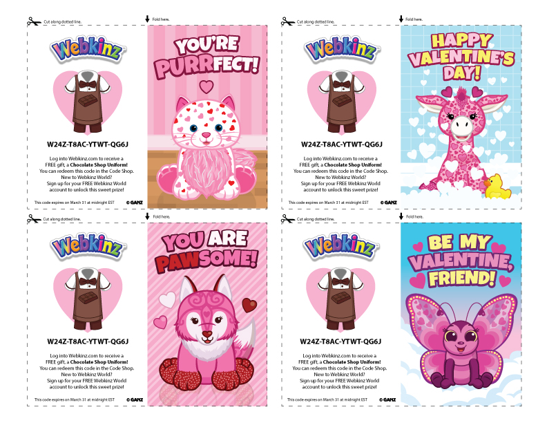 photograph regarding Printable Valentine named Printable Valentines With Shareable Code! WKN: Webkinz Newz