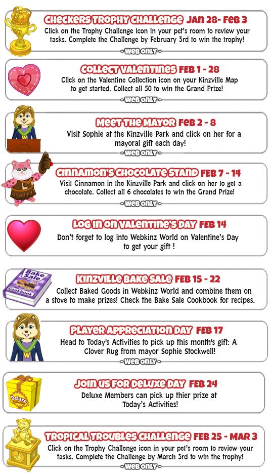 Calendar Feb 2019.Webkinz Event Calendar February 2019 Wkn Webkinz Newz