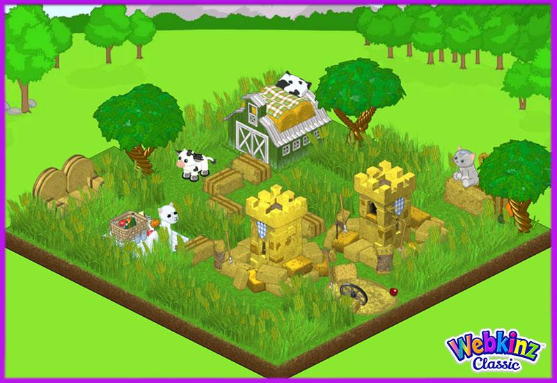 Webkinz Kinz Cottage, Barley Stalks, Hay Bale Fort