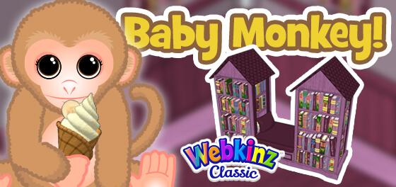 The Baby Monkey arrives in Webkinz World September 1, 2021!