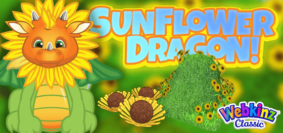 The Sunflower Dragon has arrived in Webkinz World!